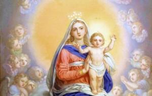 A cena que vidente de Medjugorje Marija Pavlovic-Lunetti viu no dia de Natal, o Menino Jesus em pé no colo da Virgem Maria - representado por Vladimir Borovikovsky em